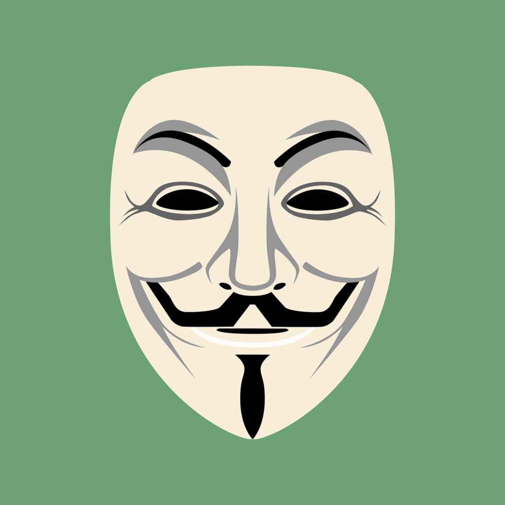 Die Maske eines Trolles im Internet